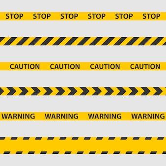Fita de advertência, linha de polícia e fitas de perigo