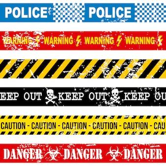 Fita de advertência sobre ilustração vetorial de fundo branco