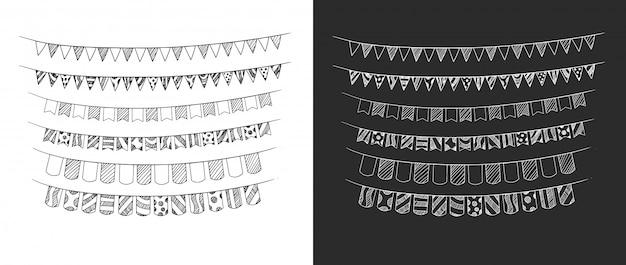 Fita de aniversário define mão desenho ilustração