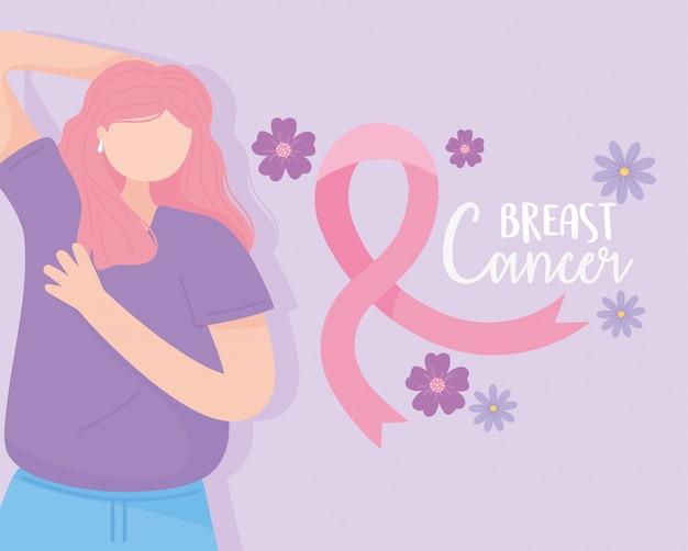 Fita de auto-exame de mulher para conscientização do câncer de mama e ilustração em vetor de flores
