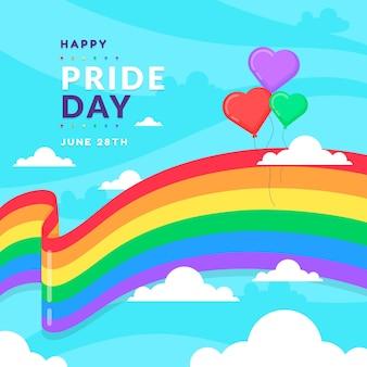 Fita de bandeira do dia do orgulho com fundo de balões de coração