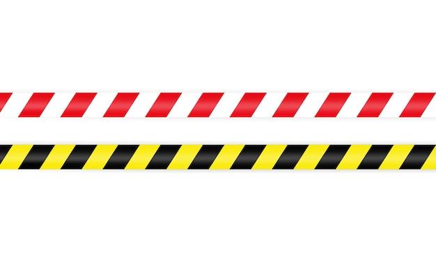 Fita de barreira de advertência vermelha branca e amarela preta. a vedação com bastão de fita protege contra a entrada.