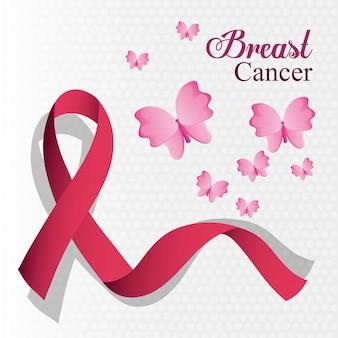 Fita de câncer de mama e cartão de borboleta