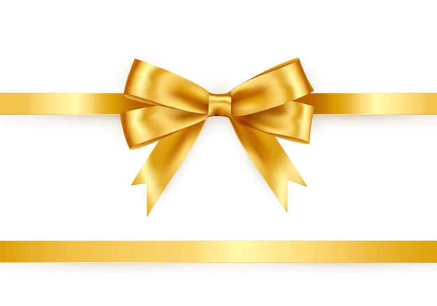 Fita de cetim brilhante em fundo branco. laço de papel cor ouro. decoração de vetor para cartão-presente e voucher de desconto.
