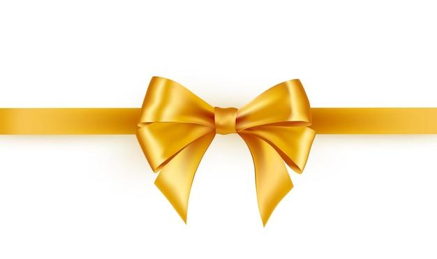 Fita de cetim dourada brilhante em fundo branco