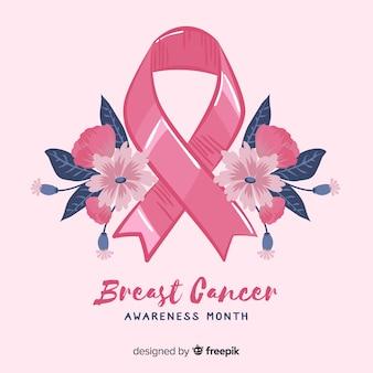 Fita de conscientização de câncer de mama floral