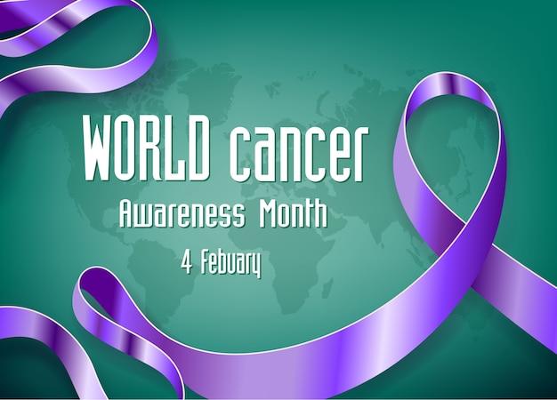 Fita de conscientização do dia mundial do câncer e mapa mundo