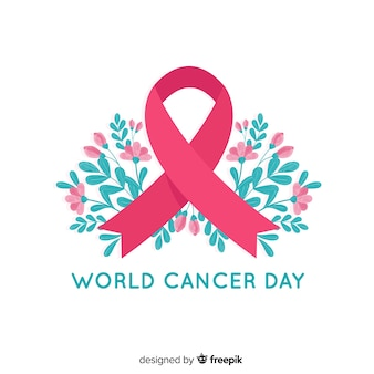 Fita de conscientização do mundo floral câncer dia sobre fundo branco