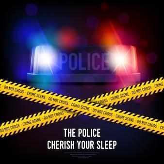 Fita de crime de polícia e sirene