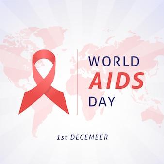 Fita de evento do dia da aids no mapa