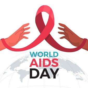 Fita de evento do dia de mãos e aids