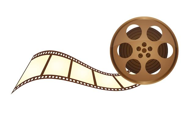 Fita de filme antigo com faixa de filme sobre vetor de fundo branco