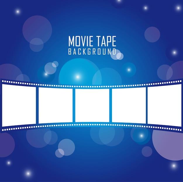 Fita de filme sobre ilustração vetorial de fundo azul