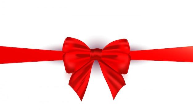 Fita de laço de seda vermelha linda realista isolada