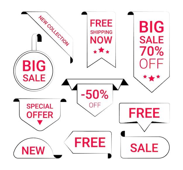 Fita de linha de etiqueta de preço promoção de venda nova oferta conjunto de pacote de vetores etiquetas de venda banners de publicidade