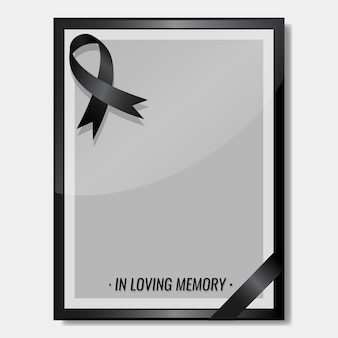 Fita de luto com o conceito de funeral de espaço de cópia de quadro