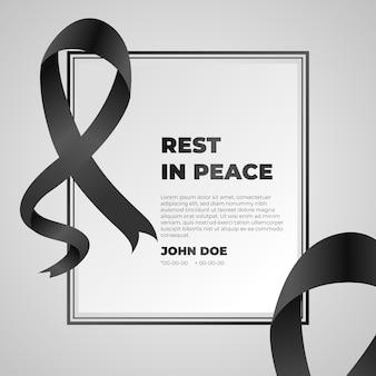 Fita de luto com o resto no quadro de paz