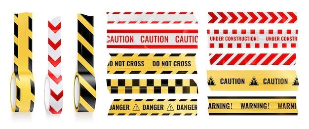 Fita de precaução e não cruze o conjunto de fita