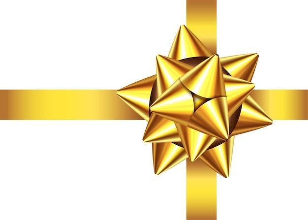 Fita de presente de cetim dourado e arco isolado no fundo branco.