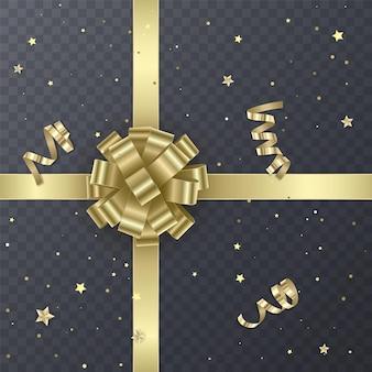 Fita de presente de ouro com arco realista. elemento do presente para o design de cartão. fundo de férias,
