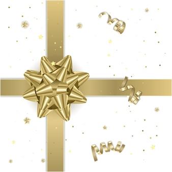 Fita de presente de ouro com arco realista. ilustração do elemento presente