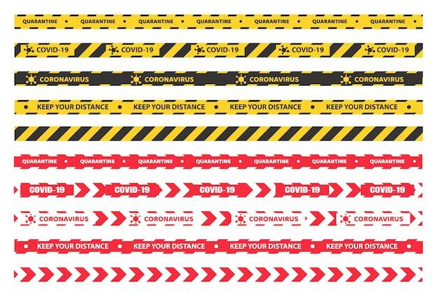 Fita de quarentena. fita preta amarela para separar as áreas de entrada. a quarentena na casa evita o vírus corona.