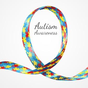 Fita de quebra-cabeça colorido de consciência de autismo