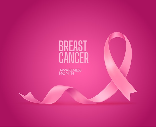 Fita de seda rosa. campanha de conscientização do câncer de mama
