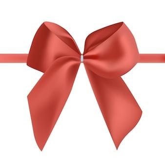 Fita de seda vermelha brilhante ou fita decorada com laço