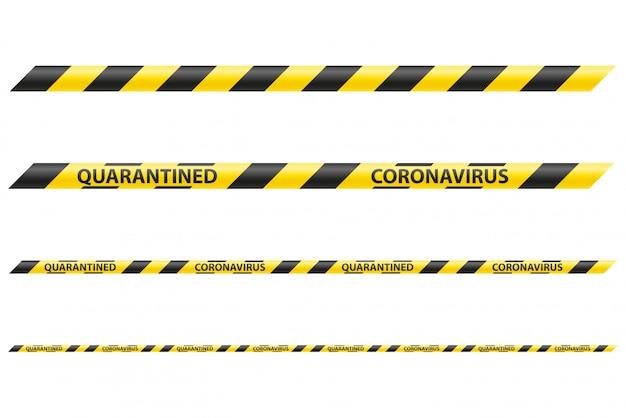 Fita de segurança listrada que proíbe a passagem devido à ilustração epidêmica do coronavírus covid-19