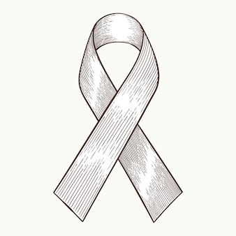 Fita de símbolo de conscientização de câncer, mão desenhada estilo vector
