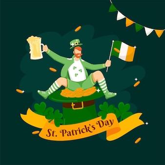 Fita de texto do dia de são patrício com um duende de desenho animado segurando uma bandeira da irlanda
