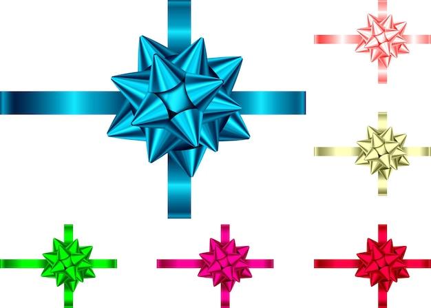 Fita decorativa de presente e arco isolado no fundo branco. decoração do feriado de azul, vermelho, verde, rosa, dourado. conjunto de elementos de decoração para banner, cartão, pôster.