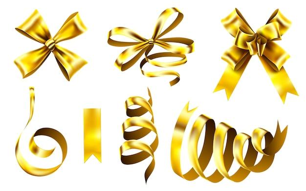Fita decorativa dourada, laço de embrulho de natal e fitas brilhantes.