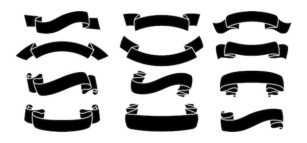 Fita definir estilo de silhueta. ícones pretos decorativos, coleção de forma de fita de glifo. design para cartões banners ou convites. fitas assinam, kit web de banner de texto. ilustração isolada