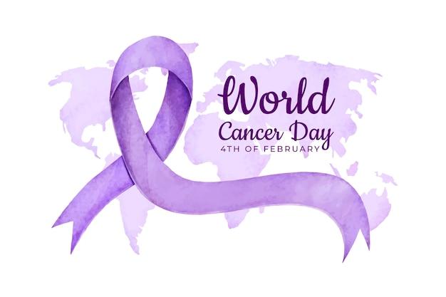 Fita do dia do câncer em aquarela roxa