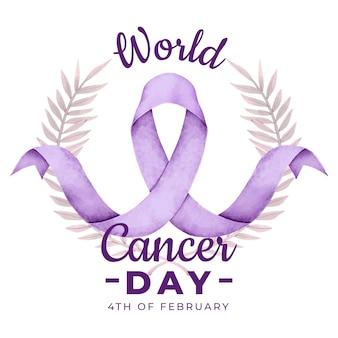 Fita do dia do câncer em aquarela
