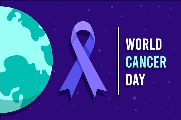 Fita do dia do câncer no mundo plano ao lado do globo terrestre