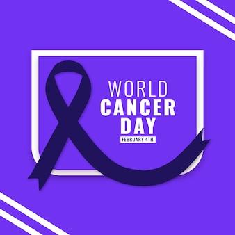Fita do dia do câncer no mundo plano
