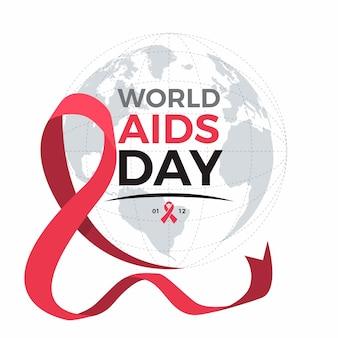 Fita do dia mundial da aids ao lado do globo terrestre