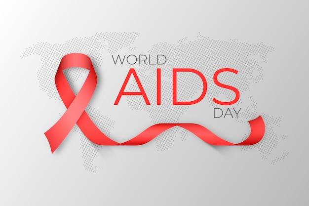 Fita do dia mundial da aids realista no fundo do mapa da terra
