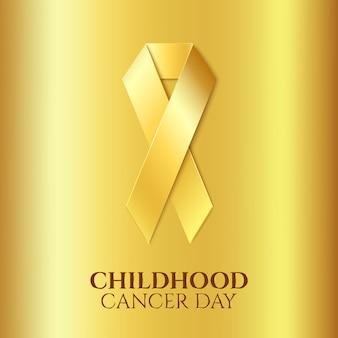Fita dourada de câncer de infância sobre fundo dourado.