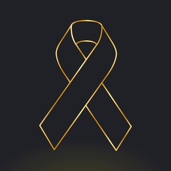 Fita dourada de conscientização do câncer infantil para apoio à saúde