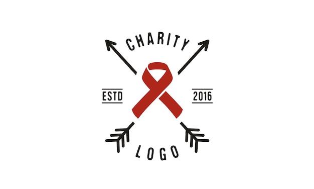 Fita e seta para design de logotipo de caridade