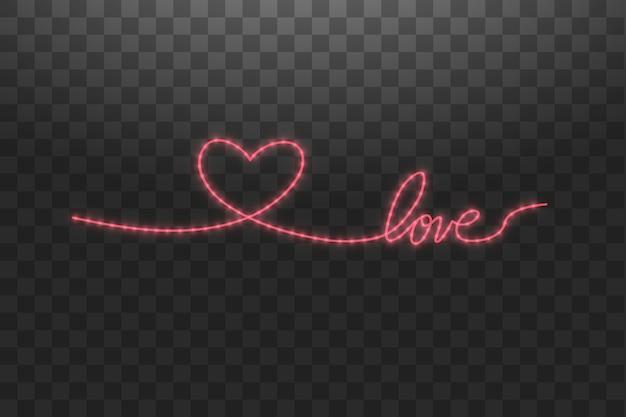 Fita led brilhante em forma de coração sobre fundo transparente.