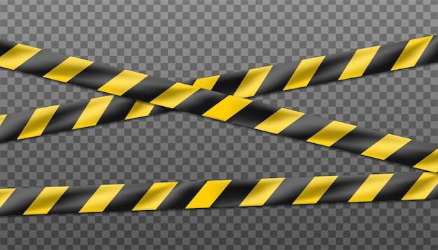 Fita listrada preta e amarela de perigo, fita isolante de sinais de alerta isolado em transparente.