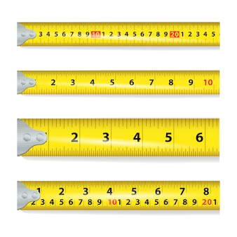 Fita métrica amarela em branco
