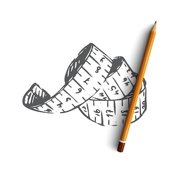 Fita métrica desenhada à mão