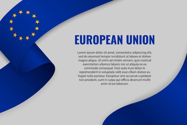 Fita ondulada ou banner com a bandeira da união europeia
