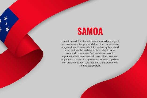 Fita ondulada ou banner com a bandeira de samoa
